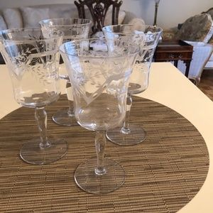 Etched Crystal Wine Glasses (4)